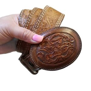 Vintage Leather Floral Embossed Buckle Belt